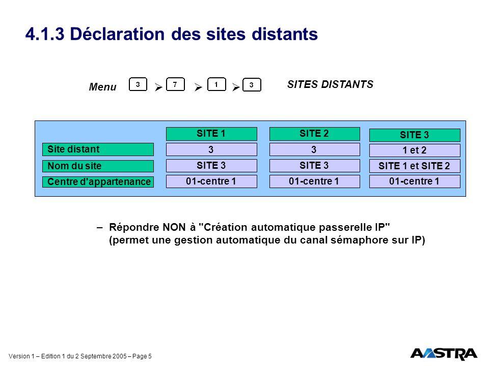 Version 1 – Edition 1 du 2 Septembre 2005 – Page 5 4.1.3 Déclaration des sites distants –Répondre NON à