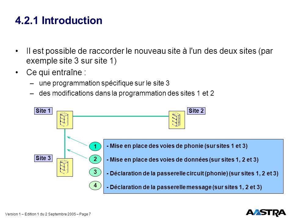 Version 1 – Edition 1 du 2 Septembre 2005 – Page 7 4.2.1 Introduction Il est possible de raccorder le nouveau site à l un des deux sites (par exemple site 3 sur site 1) Ce qui entraîne : –une programmation spécifique sur le site 3 –des modifications dans la programmation des sites 1 et 2 1 Site 1Site 2 Site 3 - Mise en place des voies de phonie (sur sites 1 et 3) - Mise en place des voies de données (sur sites 1, 2 et 3) - Déclaration de la passerelle circuit (phonie) (sur sites 1, 2 et 3) - Déclaration de la passerelle message (sur sites 1, 2 et 3) 2 3 4