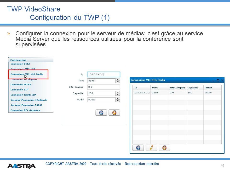 COPYRIGHT AASTRA 2009 – Tous droits réservés – Reproduction interdite 10 TWP VideoShare Configuration du TWP (1) »Configurer la connexion pour le serv
