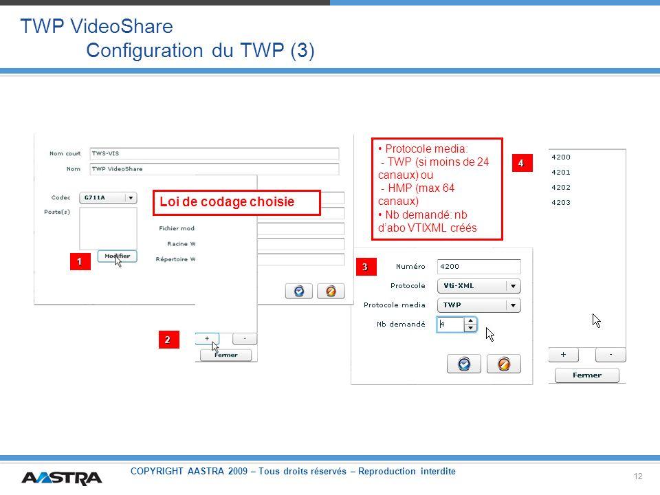 COPYRIGHT AASTRA 2009 – Tous droits réservés – Reproduction interdite 12 TWP VideoShare Configuration du TWP (3) 1 2 3 4 Loi de codage choisie Protoco