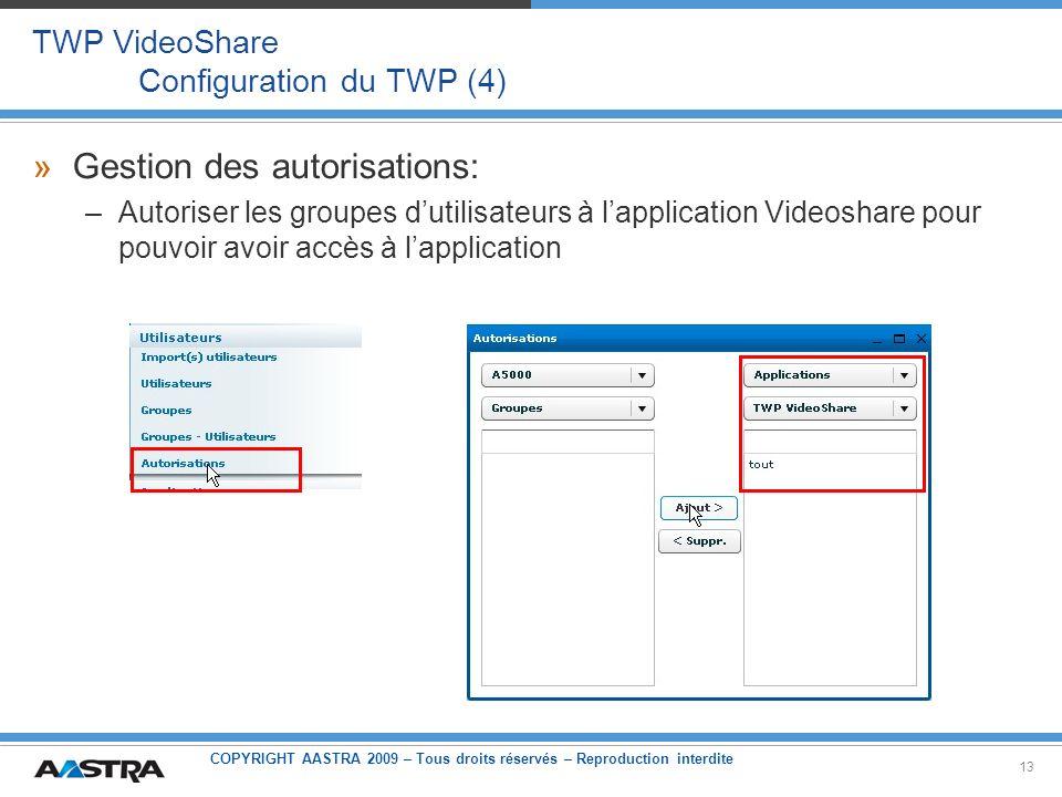 COPYRIGHT AASTRA 2009 – Tous droits réservés – Reproduction interdite 13 TWP VideoShare Configuration du TWP (4) »Gestion des autorisations: –Autorise