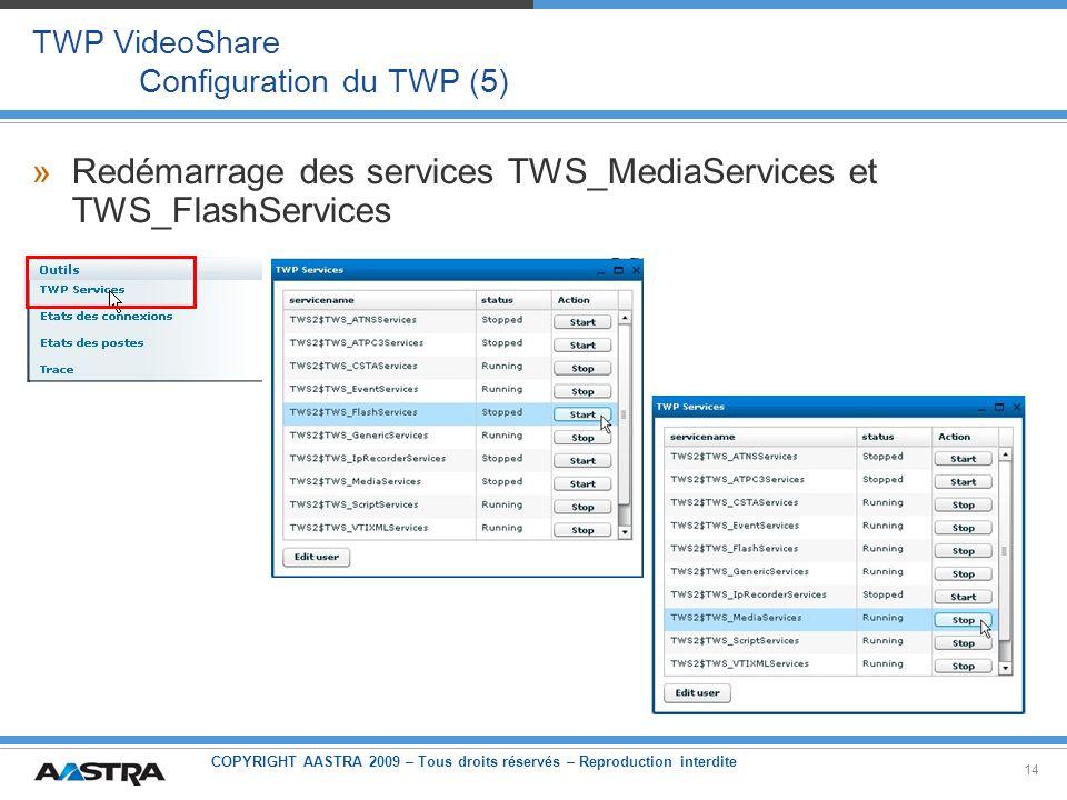 COPYRIGHT AASTRA 2009 – Tous droits réservés – Reproduction interdite 14 TWP VideoShare Configuration du TWP (5) »Redémarrage des services TWS_MediaSe