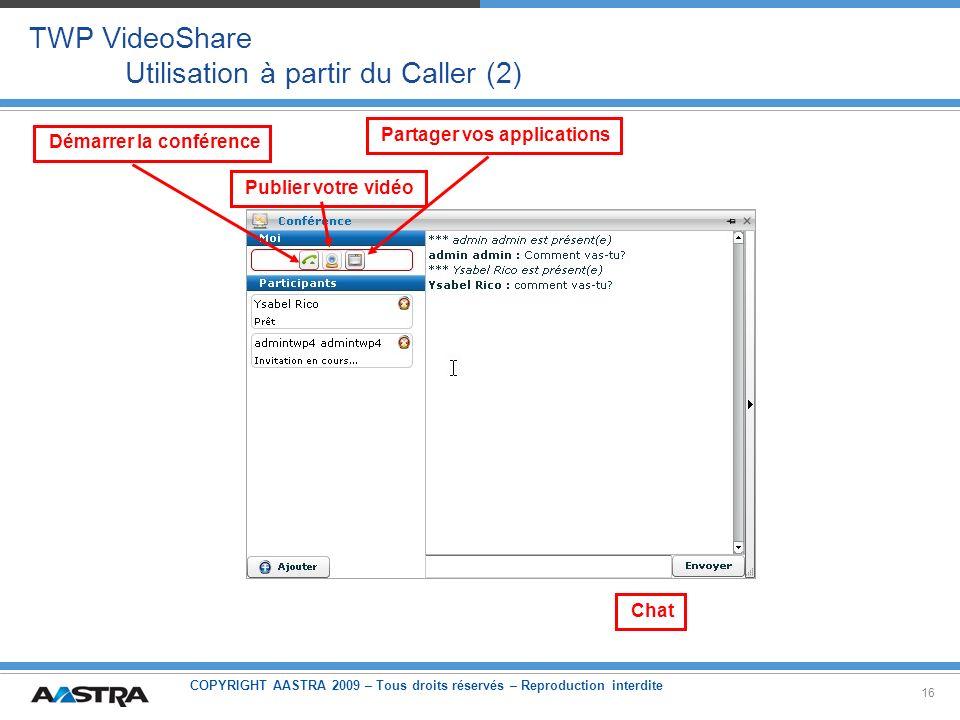 COPYRIGHT AASTRA 2009 – Tous droits réservés – Reproduction interdite 16 TWP VideoShare Utilisation à partir du Caller (2) Démarrer la conférence Publ