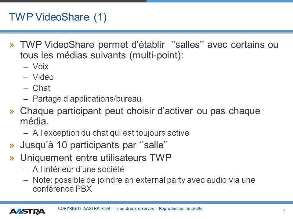 COPYRIGHT AASTRA 2009 – Tous droits réservés – Reproduction interdite 2 TWP VideoShare (1) »TWP VideoShare permet détablir salles avec certains ou tou