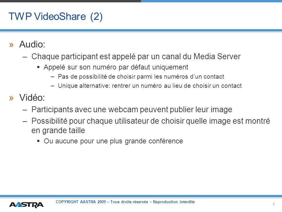 COPYRIGHT AASTRA 2009 – Tous droits réservés – Reproduction interdite 3 TWP VideoShare (2) »Audio: –Chaque participant est appelé par un canal du Medi