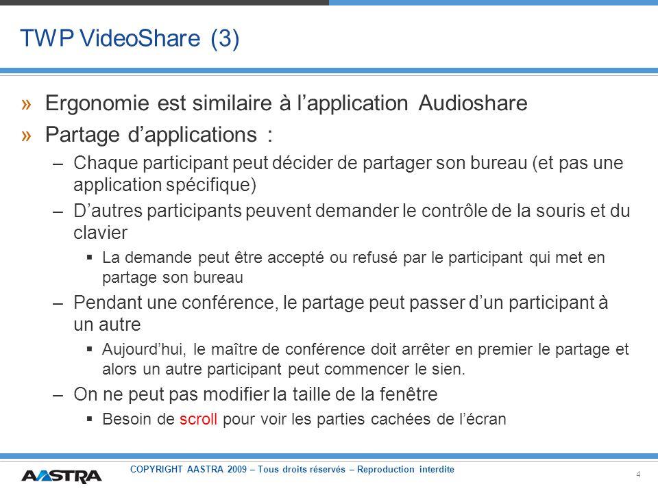 COPYRIGHT AASTRA 2009 – Tous droits réservés – Reproduction interdite 4 TWP VideoShare (3) »Ergonomie est similaire à lapplication Audioshare »Partage