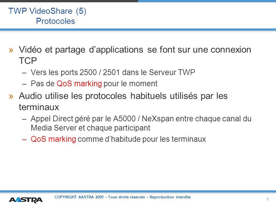 COPYRIGHT AASTRA 2009 – Tous droits réservés – Reproduction interdite 7 TWP VideoShare Compatibilités »Webcams supportées : –Toute webcam supportée par Adobe Flash Player 9 ou au-dessus »Systèmes opératifs supportés : –Partager votre bureau est possible uniquement dans des OS Windows Mais voir le bureau de quelquun dautre est possible aussi dans des OS Linux et Mac