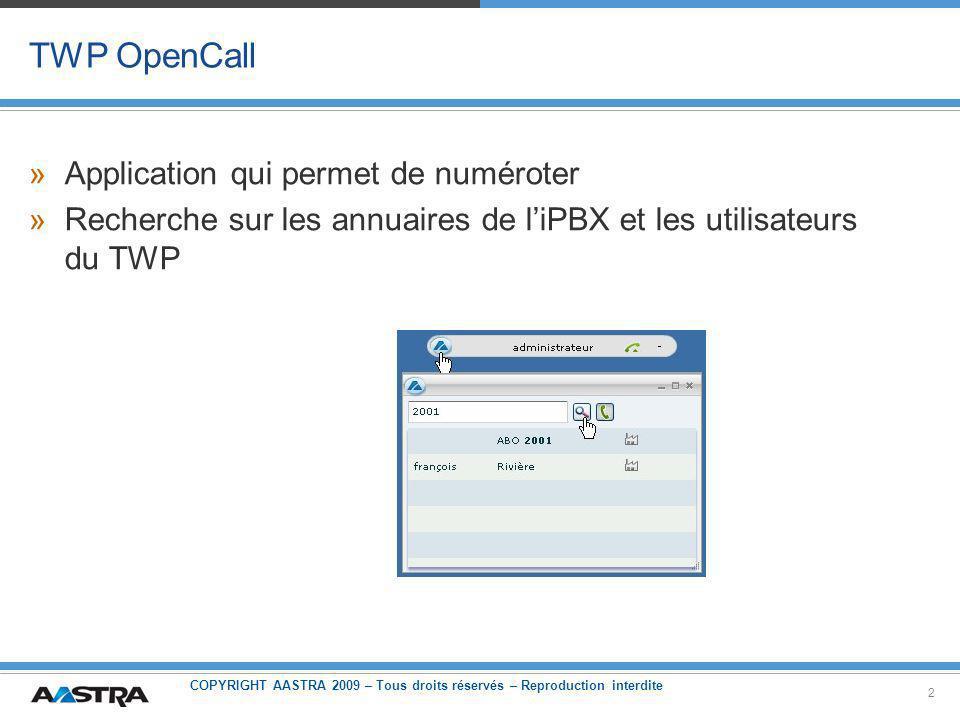 COPYRIGHT AASTRA 2009 – Tous droits réservés – Reproduction interdite 2 TWP OpenCall »Application qui permet de numéroter »Recherche sur les annuaires