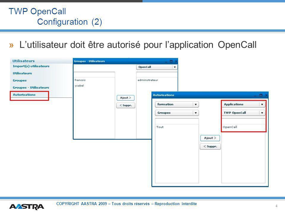 COPYRIGHT AASTRA 2009 – Tous droits réservés – Reproduction interdite 4 TWP OpenCall Configuration (2) »Lutilisateur doit être autorisé pour lapplication OpenCall