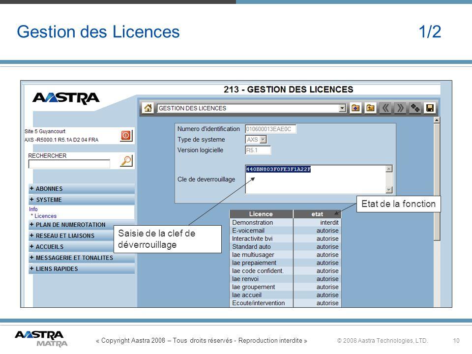 « Copyright Aastra 2008 – Tous droits réservés - Reproduction interdite » 10© 2008 Aastra Technologies, LTD. Gestion des Licences 1/2 Saisie de la cle