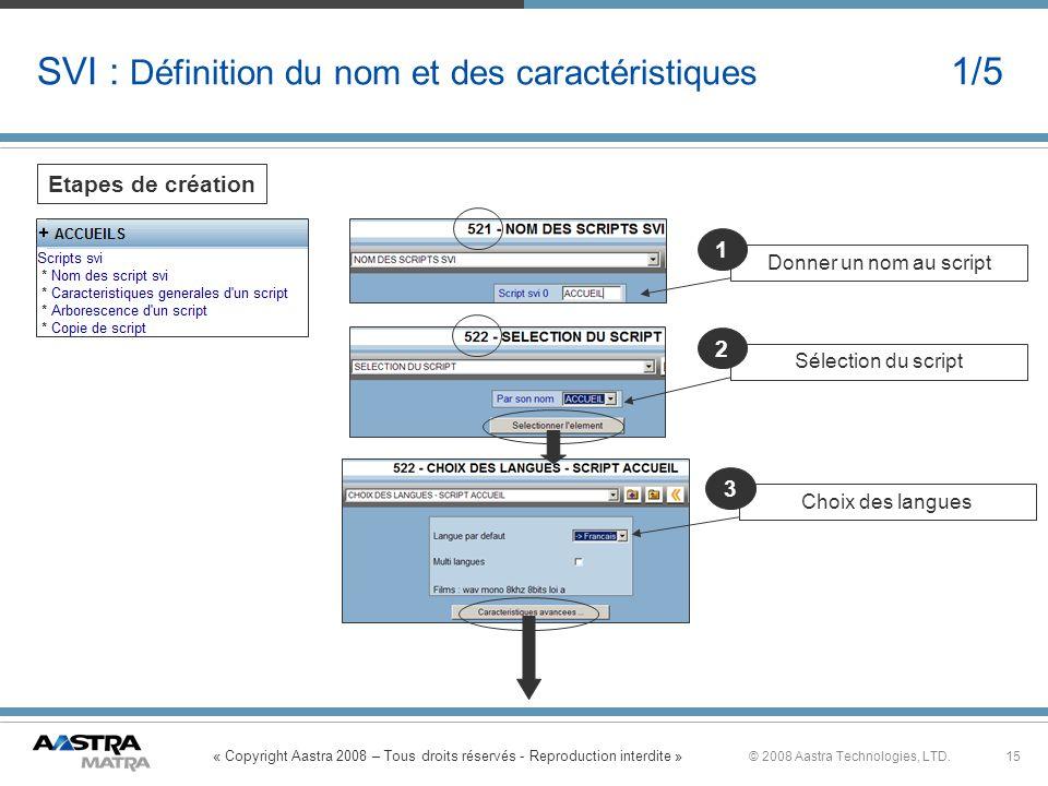 « Copyright Aastra 2008 – Tous droits réservés - Reproduction interdite » 15© 2008 Aastra Technologies, LTD. SVI : Définition du nom et des caractéris