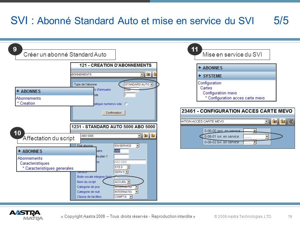 « Copyright Aastra 2008 – Tous droits réservés - Reproduction interdite » 19© 2008 Aastra Technologies, LTD. SVI : Abonné Standard Auto et mise en ser