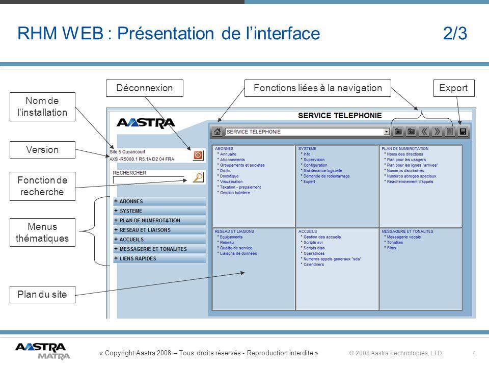 « Copyright Aastra 2008 – Tous droits réservés - Reproduction interdite » 4© 2008 Aastra Technologies, LTD. RHM WEB : Présentation de linterface 2/3 N