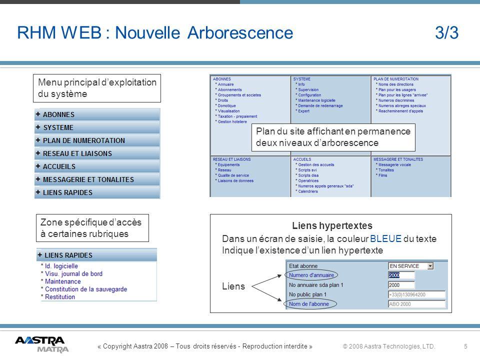 « Copyright Aastra 2008 – Tous droits réservés - Reproduction interdite » 5© 2008 Aastra Technologies, LTD. RHM WEB : Nouvelle Arborescence 3/3 Plan d