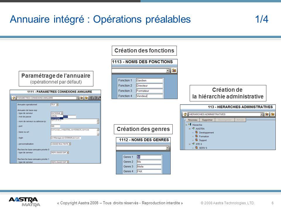 « Copyright Aastra 2008 – Tous droits réservés - Reproduction interdite » 6© 2008 Aastra Technologies, LTD. Annuaire intégré : Opérations préalables 1