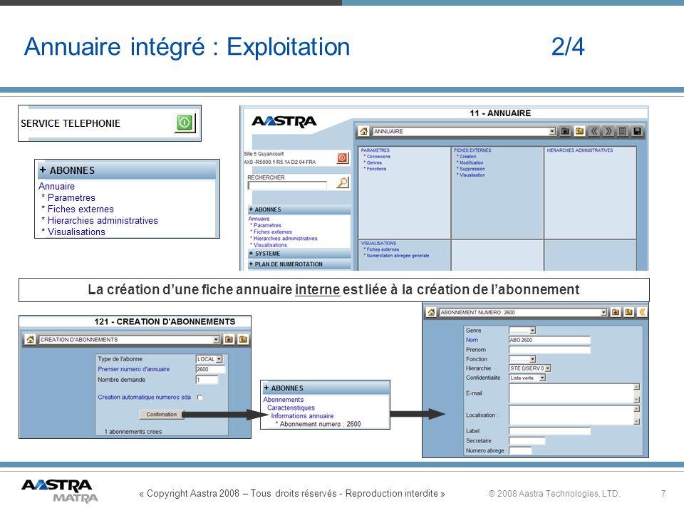 « Copyright Aastra 2008 – Tous droits réservés - Reproduction interdite » 7© 2008 Aastra Technologies, LTD. Annuaire intégré : Exploitation 2/4 La cré