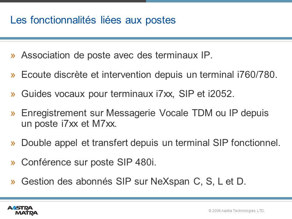 © 2006 Aastra Technologies, LTD. Les fonctionnalités liées aux postes »Association de poste avec des terminaux IP. »Ecoute discrète et intervention de