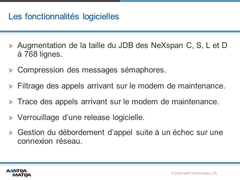 © 2006 Aastra Technologies, LTD. Les fonctionnalités logicielles »Augmentation de la taille du JDB des NeXspan C, S, L et D à 768 lignes. »Compression