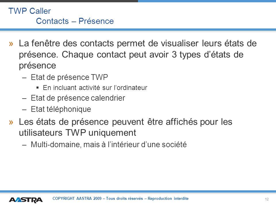 COPYRIGHT AASTRA 2009 – Tous droits réservés – Reproduction interdite 12 TWP Caller Contacts – Présence »La fenêtre des contacts permet de visualiser
