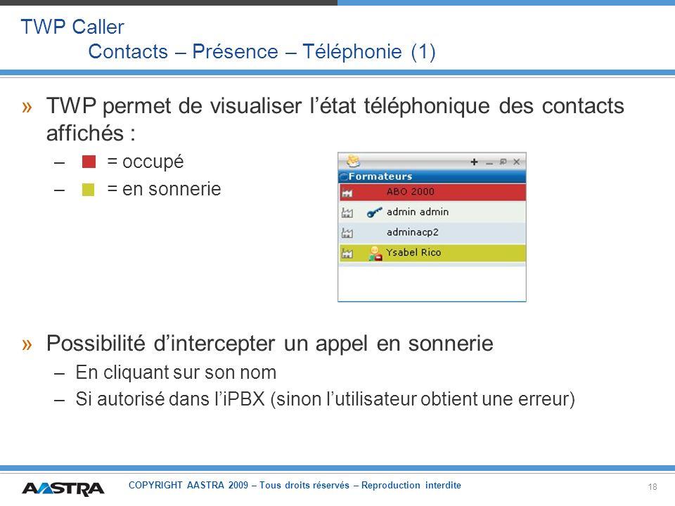 COPYRIGHT AASTRA 2009 – Tous droits réservés – Reproduction interdite 18 TWP Caller Contacts – Présence – Téléphonie (1) »TWP permet de visualiser lét