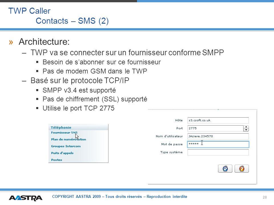 COPYRIGHT AASTRA 2009 – Tous droits réservés – Reproduction interdite 28 TWP Caller Contacts – SMS (2) »Architecture: –TWP va se connecter sur un four