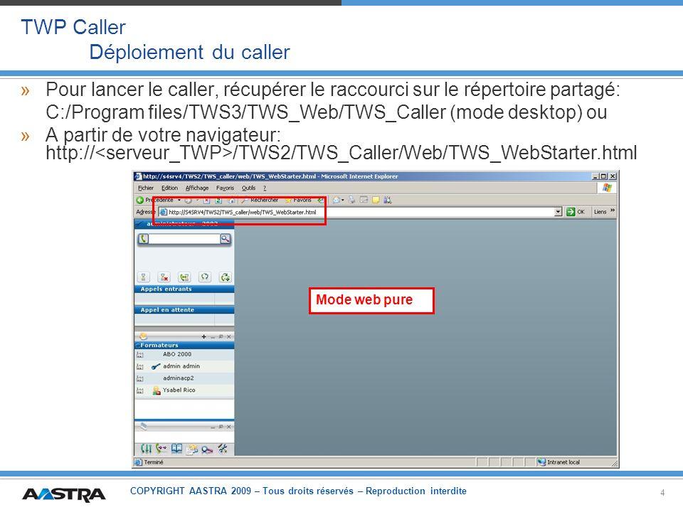 COPYRIGHT AASTRA 2009 – Tous droits réservés – Reproduction interdite 5 TWP Caller Configuration TWP »Vérification du nombre de licences pour Caller, contrôlées à la source et ne pas en nombre dutilisateurs connectés, dans le menu Sécurité Licences »Besoin dautoriser lapplication pour un groupe ou un utilisateur dans le menu Utilisateurs Autorisations