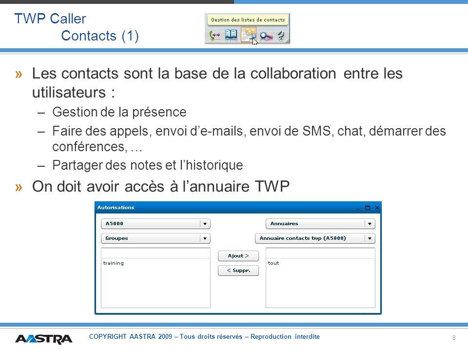 COPYRIGHT AASTRA 2009 – Tous droits réservés – Reproduction interdite 19 TWP Caller Contacts – Présence – Téléphonie (2) »Architecture 1: –TWP est capable dutiliser les touches de supervision programmées dans son poste Possible uniquement pour des postes supervisés en VTI/XML Serveur TWP Côté serveur Côté Client iPBX Utilisateur TWP Autres abonnés Supervision Intercom