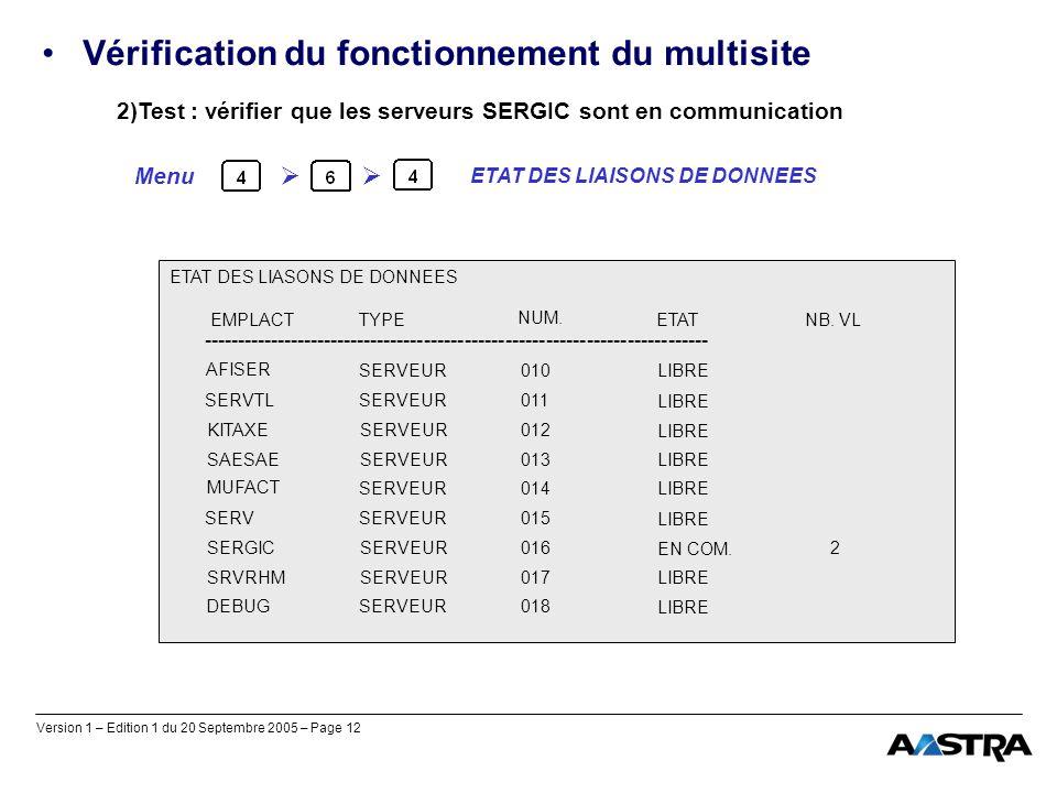 Version 1 – Edition 1 du 20 Septembre 2005 – Page 12 Vérification du fonctionnement du multisite 2)Test : vérifier que les serveurs SERGIC sont en com
