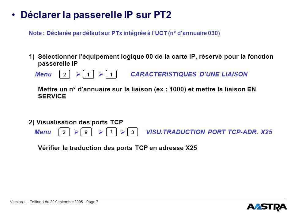 Version 1 – Edition 1 du 20 Septembre 2005 – Page 7 Déclarer la passerelle IP sur PT2 Note : Déclarée par défaut sur PTx intégrée à l'UCT (n° d'annuai