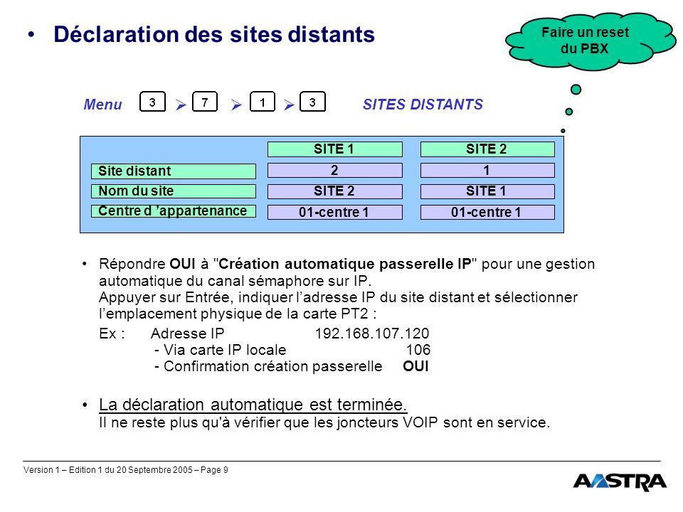 Version 1 – Edition 1 du 20 Septembre 2005 – Page 9 Déclaration des sites distants Répondre OUI à