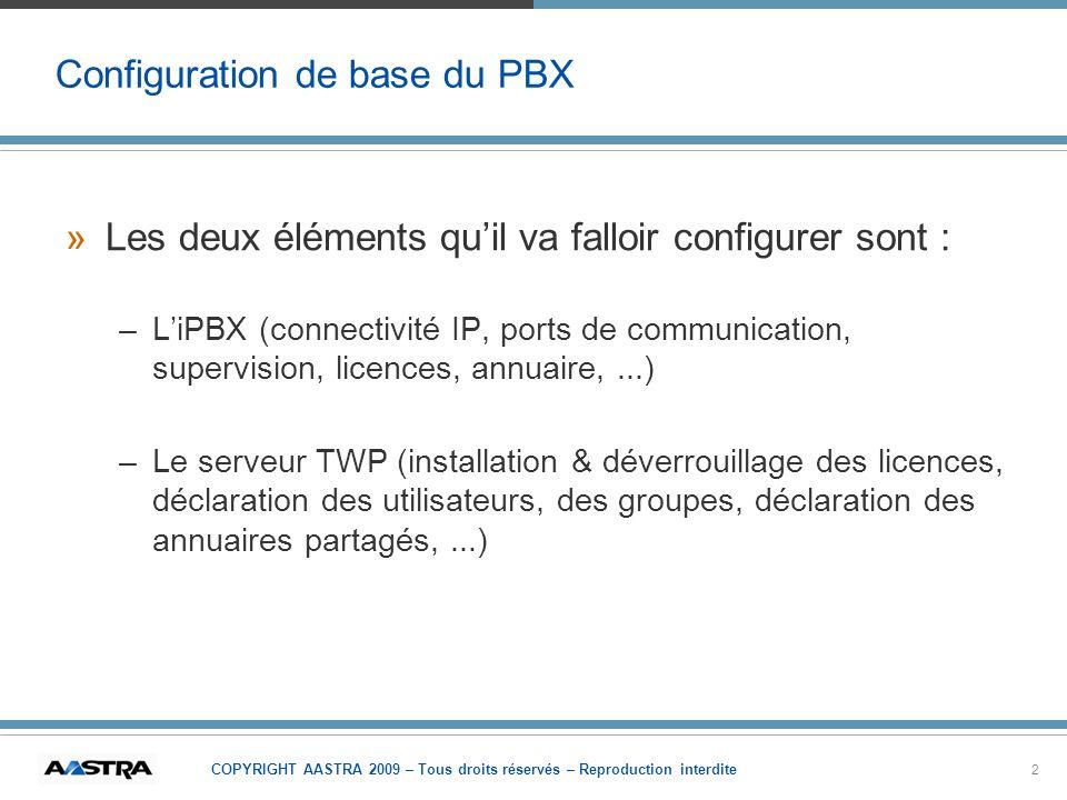 COPYRIGHT AASTRA 2009 – Tous droits réservés – Reproduction interdite 2 Configuration de base du PBX »Les deux éléments quil va falloir configurer son