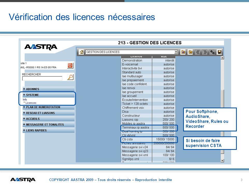 COPYRIGHT AASTRA 2009 – Tous droits réservés – Reproduction interdite 3 Vérification des licences nécessaires Pour Softphone, AudioShare, VideoShare,