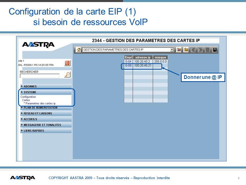 COPYRIGHT AASTRA 2009 – Tous droits réservés – Reproduction interdite 4 Configuration de la carte EIP (1) si besoin de ressources VoIP Donner une @ IP