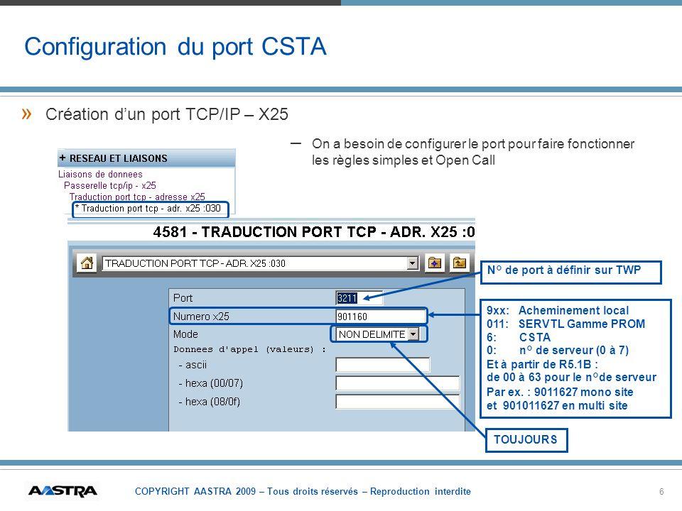 COPYRIGHT AASTRA 2009 – Tous droits réservés – Reproduction interdite 6 Configuration du port CSTA » »Création dun port TCP/IP – X25 – –On a besoin de