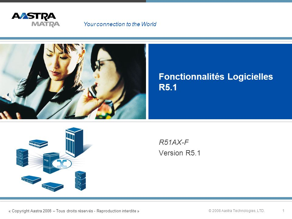 « Copyright Aastra 2008 – Tous droits réservés - Reproduction interdite » 1© 2008 Aastra Technologies, LTD. Fonctionnalités Logicielles R5.1 R51AX-F V