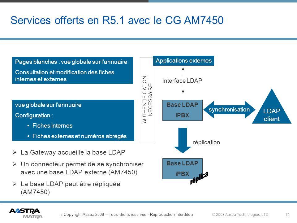 « Copyright Aastra 2008 – Tous droits réservés - Reproduction interdite » 17© 2008 Aastra Technologies, LTD. Base LDAP iPBX Services offerts en R5.1 a