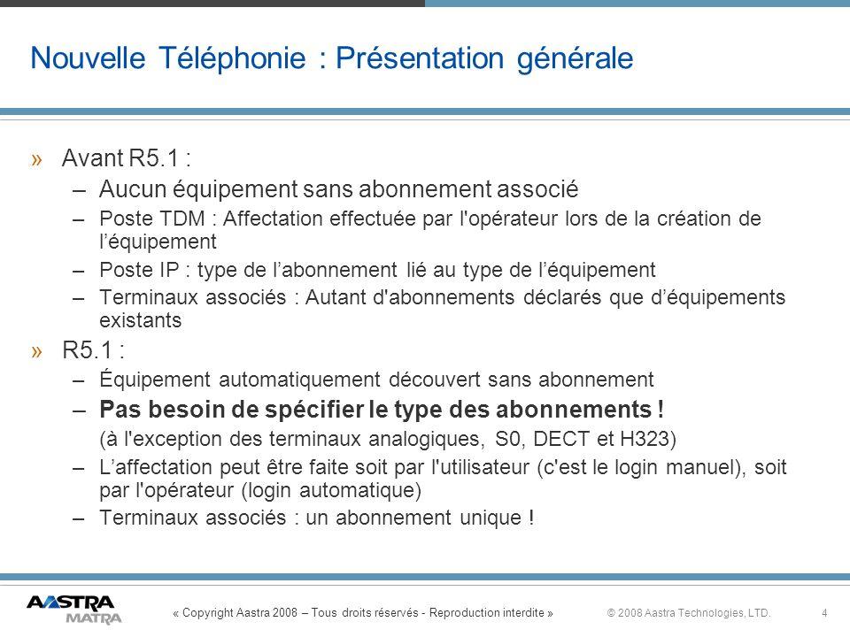 « Copyright Aastra 2008 – Tous droits réservés - Reproduction interdite » 4© 2008 Aastra Technologies, LTD. Nouvelle Téléphonie : Présentation général