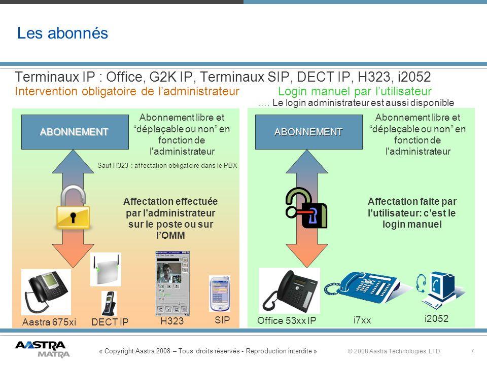 « Copyright Aastra 2008 – Tous droits réservés - Reproduction interdite » 7© 2008 Aastra Technologies, LTD. Terminaux IP : Office, G2K IP, Terminaux S