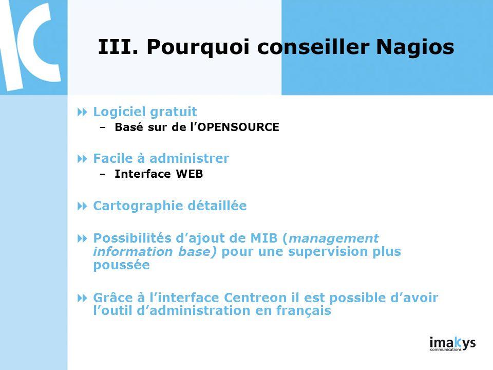 Logiciel gratuit –Basé sur de lOPENSOURCE Facile à administrer –Interface WEB Cartographie détaillée Possibilités dajout de MIB (management informatio