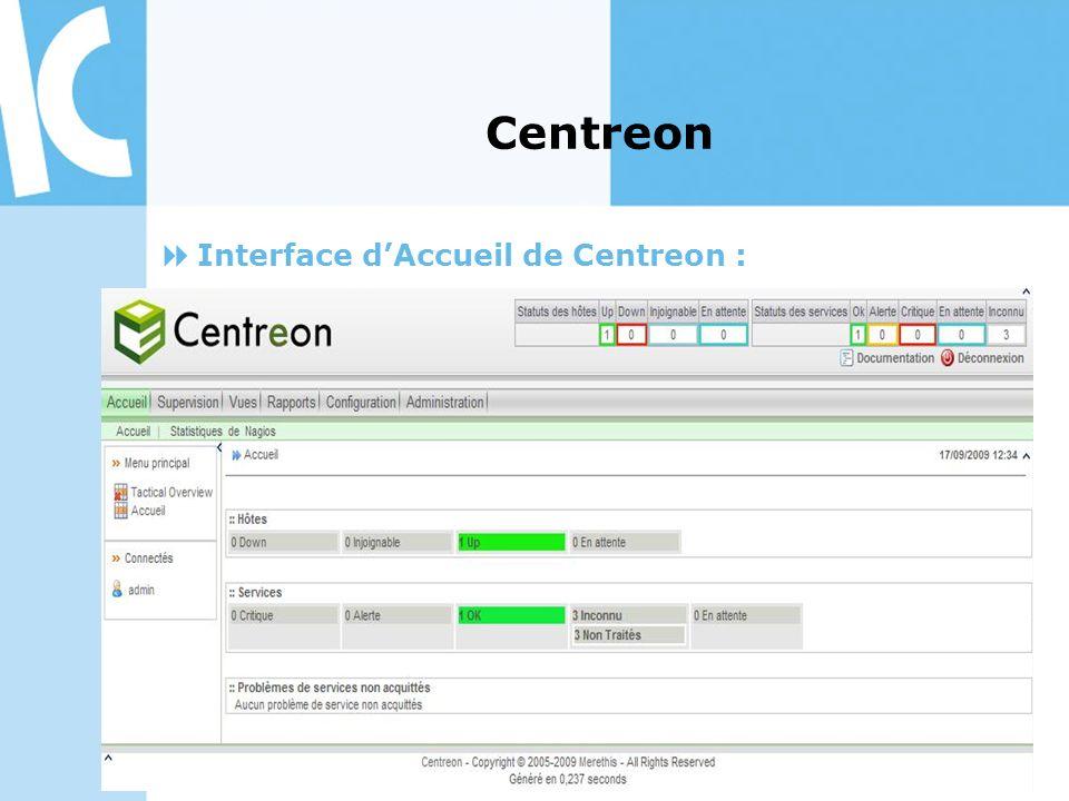 Interface dAccueil de Centreon : Centreon