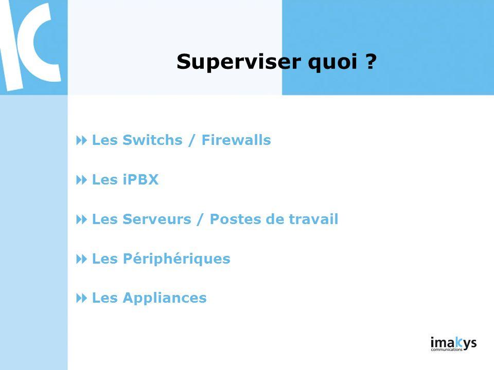 Superviser quoi ? Les Switchs / Firewalls Les iPBX Les Serveurs / Postes de travail Les Périphériques Les Appliances