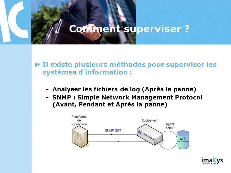 Comment superviser ? Il existe plusieurs méthodes pour superviser les systèmes d'information : –Analyser les fichiers de log (Après la panne) –SNMP :