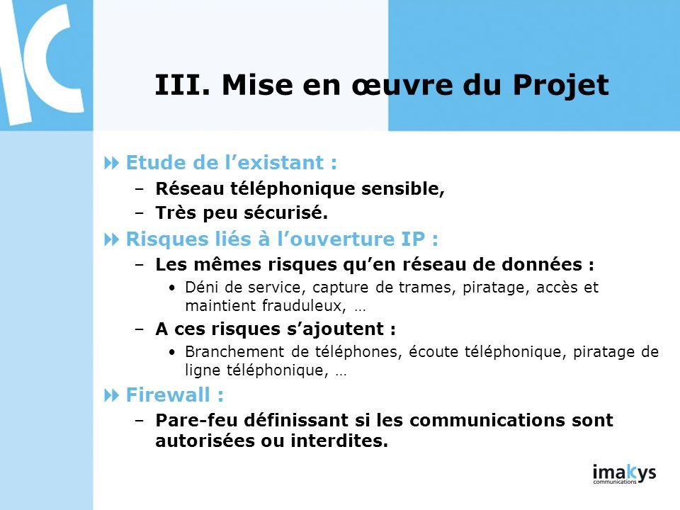 III. Mise en œuvre du Projet Etude de lexistant : –Réseau téléphonique sensible, –Très peu sécurisé. Risques liés à louverture IP : –Les mêmes risques