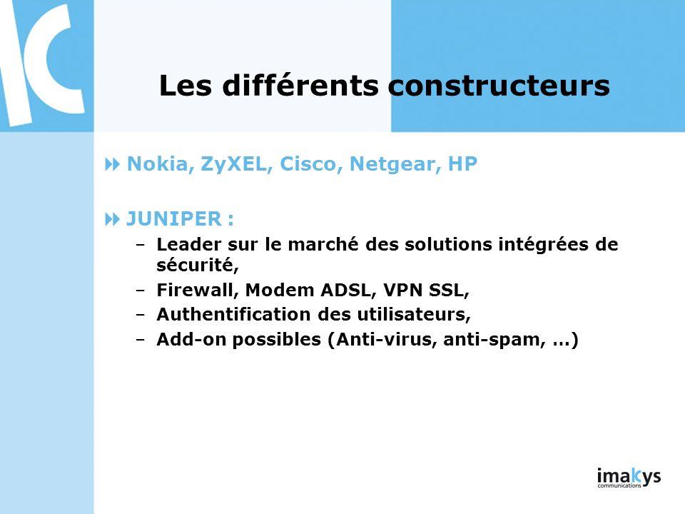 Les différents constructeurs Nokia, ZyXEL, Cisco, Netgear, HP JUNIPER : –Leader sur le marché des solutions intégrées de sécurité, –Firewall, Modem AD