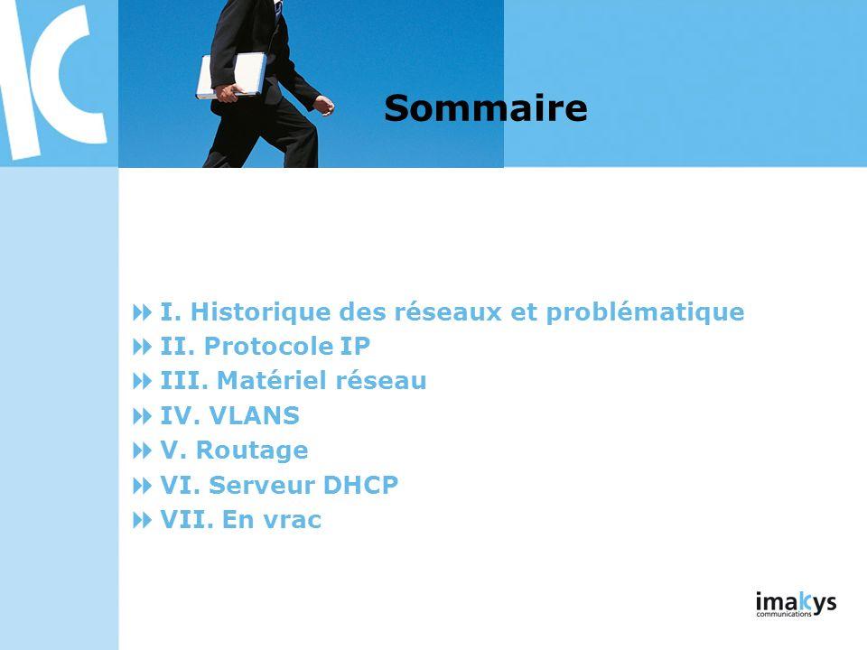 I. Historique des réseaux et problématique II. Protocole IP III. Matériel réseau IV. VLANS V. Routage VI. Serveur DHCP VII. En vrac Sommaire