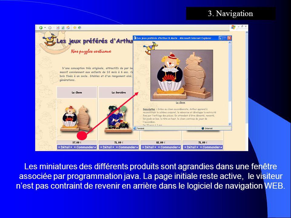 3. Navigation Les miniatures des différents produits sont agrandies dans une fenêtre associée par programmation java. La page initiale reste active, l
