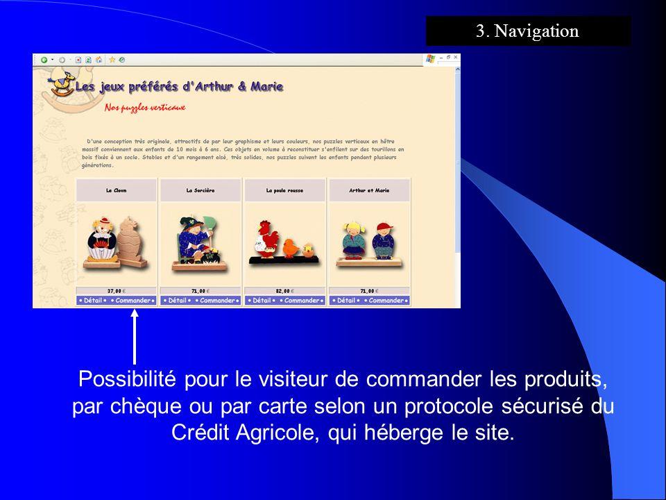 Possibilité pour le visiteur de commander les produits, par chèque ou par carte selon un protocole sécurisé du Crédit Agricole, qui héberge le site. 3