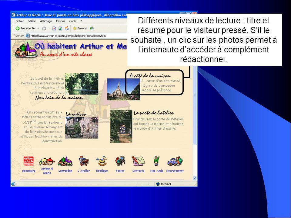Différents niveaux de lecture : titre et résumé pour le visiteur pressé. Sil le souhaite, un clic sur les photos permet à linternaute daccéder à compl