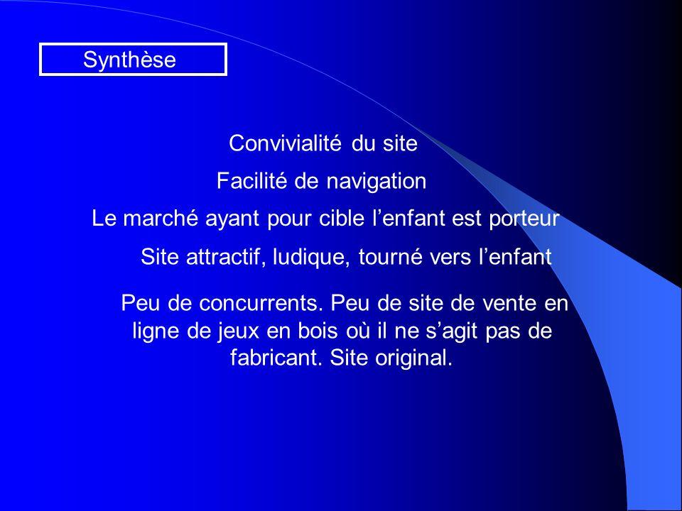 Synthèse Convivialité du site Facilité de navigation Site attractif, ludique, tourné vers lenfant Le marché ayant pour cible lenfant est porteur Peu de concurrents.
