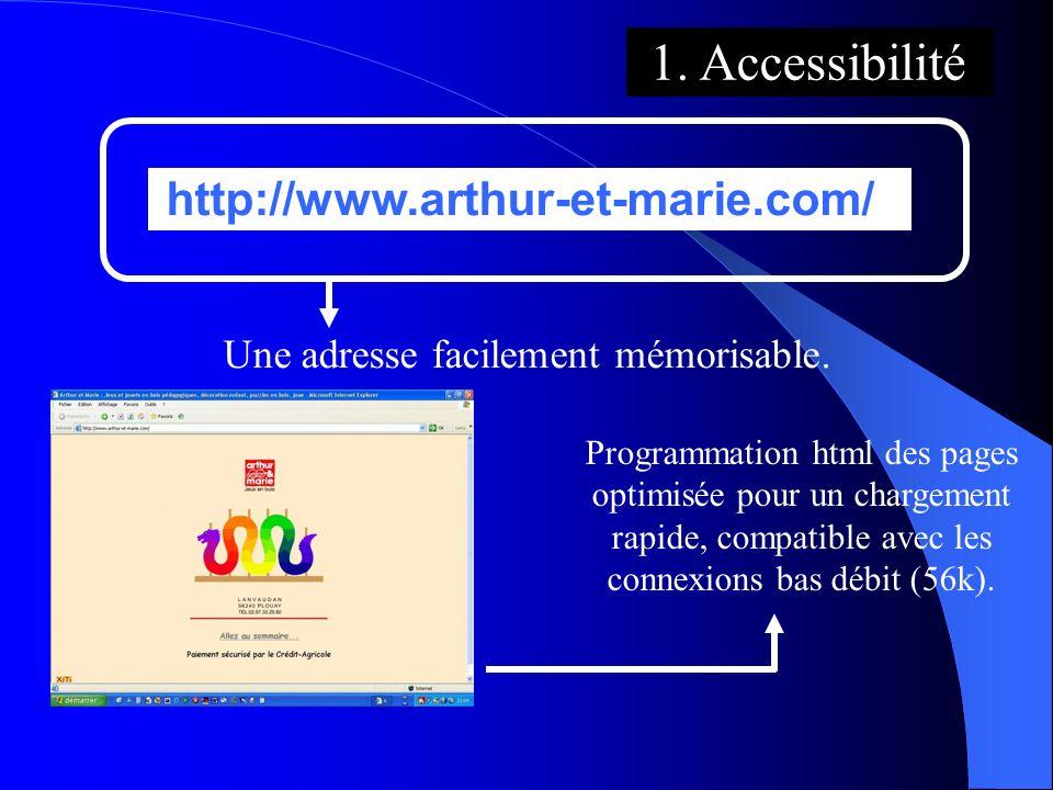 http://www.arthur-et-marie.com/ 1. Accessibilité Une adresse facilement mémorisable. Programmation html des pages optimisée pour un chargement rapide,